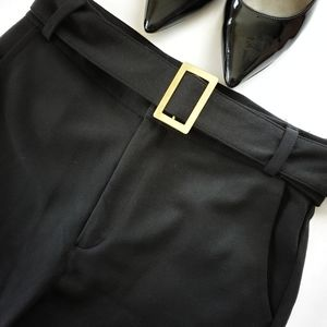 Skinny Ponte Black Pants with Belt